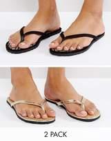 Asos FIDO Raffia Flip Flop Two Pack
