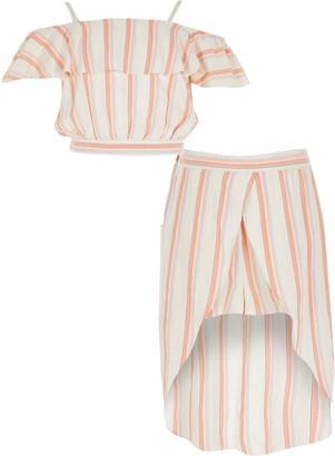 River Island Girls Orange stripe frill skort outfit