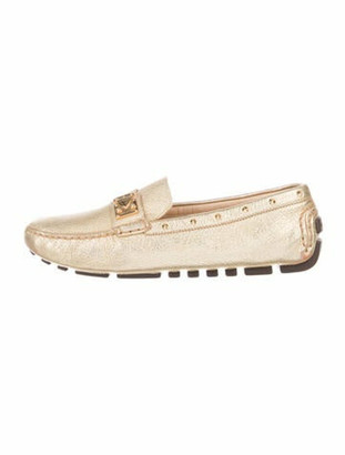 Louis Vuitton Leather Studded Accents Loafers Gold