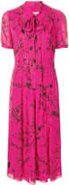 Burberry doodle print tie neck dress