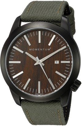 Momentum Mens Quartz Watch | Logic 42 by |IP Black Stainless Steel Watches for Men | Sports Watch with Japanese Movement & Analog Display | Water Resistant watch with Date Wood / Khaki Cordura