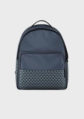 Emporio Armani Nylon Backpack With Monogram Details