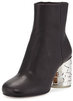 Maison Margiela Metal-Heel Leather Bootie, Black