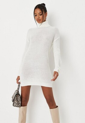 Missguided White Turtle Neck Knit Sweater Dress