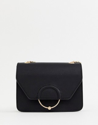 Asos Design DESIGN ring and ball cross body bag with chain strap-Blue
