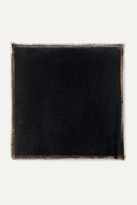 Loro Piana Quadrata Luna Fringed Metallic Cashmere-blend Scarf - Charcoal