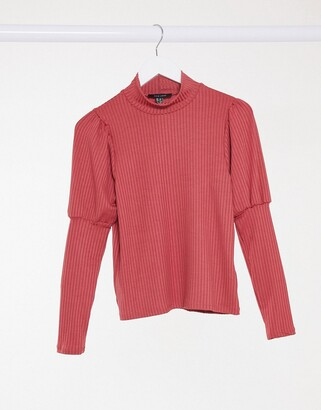 New Look ribbed puff sleeve top in raspberry