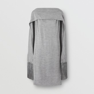 Burberry Merino Wool Sleeveless Dress with Fringed Capelet