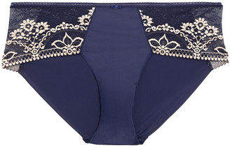 Wacoal Embellished Embroidered Stretch-lace And Jersey Mid-rise Briefs
