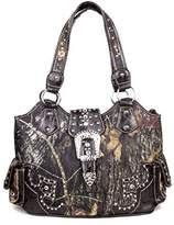 GoCowgirl Western Concealed Carry Weapon Purse Camouflage Camo Belt Buckle Handbag Coffee