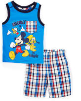 Children's Apparel Network Blue Mickey Mouse Tank & Plaid Shorts - Infant & Toddler