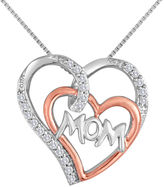 JCPenney FINE JEWELRY 1/4 CT. T.W. Diamond Two-Tone Mom Double Heart Pendant Necklace