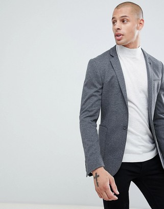Asos Design DESIGN super skinny blazer in charcoal jersey-Gray