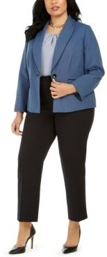 Le Suit Plus Size Basket Weave Pantsuit