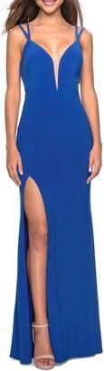 La Femme Strappy Back Jersey Column Gown