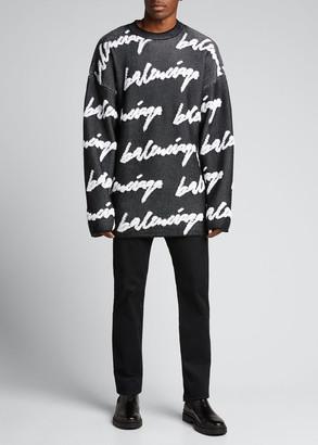 Balenciaga Men's Oversized 3D Logo Scribble Sweater