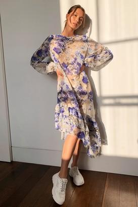 Nasty Gal Womens Steer Sheer Floral Midi Dress - Blue 33