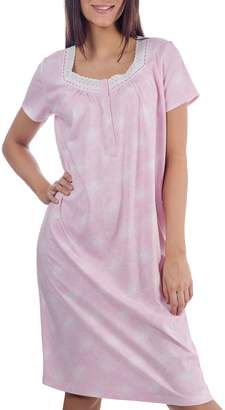 Jasmine Rose Lace-Trimmed Cotton Nightgown