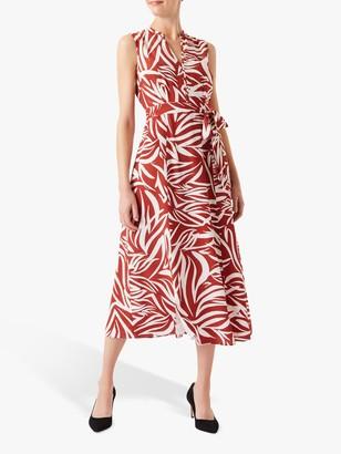 Hobbs Shelly Leaf Print Midi Dress