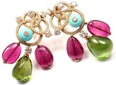 Bulgari 18K Yellow Gold with Diamond, Turquoise & Tourmaline Earrings