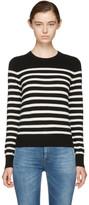 Saint Laurent Black & Ivory Cashmere Marinière Sweater