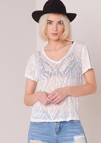 Missy Empire Shelly White Sheer Printed Short Sleeved Top