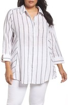 Foxcroft Plus Size Women's Cici Summer Stripe Tunic