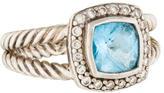 David Yurman Blue Topaz & Diamond Petite Albion Ring
