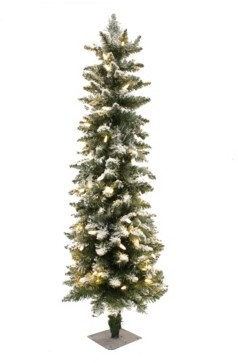 Perfect Holiday 3.5' Prelit Frosted Pencil Christmas Tree with 100 Led Lights