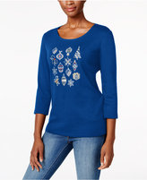 Karen Scott Petite Ornaments Holiday Top, Only at Macy's