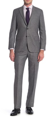 Hickey Freeman Grey Donegal Two Button Notch Lapel Wool Classic Fit Suit