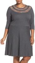 Vince Camuto Lace Yoke A-Line Sweater Dress (Plus Size)