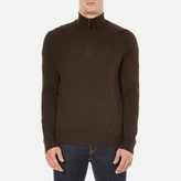 Polo Ralph Lauren Men's Half Zip Merino Knitted Jumper Brown Marl