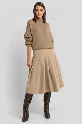 NA-KD Tailored Pleated Midi Skirt Beige