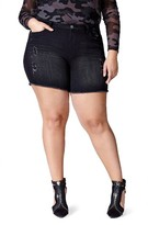 Plus Size Women's Mblm By Tess Holiday Raw Edge Denim Shorts
