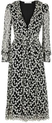 Philosophy di Lorenzo Serafini Black floral-embroidered tulle midi dress
