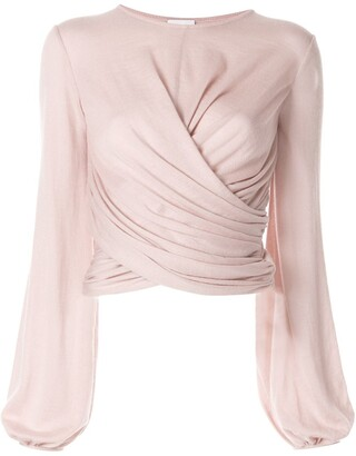 Giambattista Valli Long-Sleeved Wrap Blouse