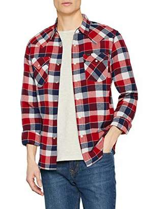Lee Men's Western Shirt Casual, White (Bright Red Ef), X-Large