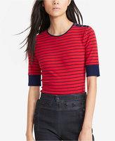 Lauren Ralph Lauren Petite Striped Lace-Shoulder Shirt