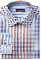 Club Room Estate Men's Classic-Fit Wrinkle-Resistant Rust Blue Multi-Check Dress Shirt, Only at Macy's