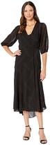 Calvin Klein Chiffon Maxi Dress with Side Tie (Black) Women's Dress