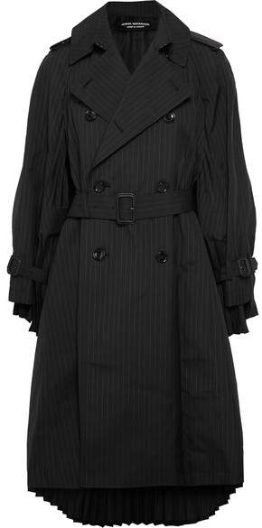 Junya Watanabe Oversized Pleated Pinstriped Wool-blend Trench Coat - Black