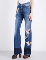 RED Valentino Bird-appliqué frayed-hem straight mid-rise jeans