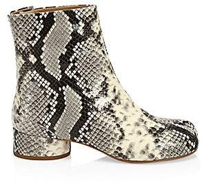 Maison Margiela Women's Tabi Snakeskin-Embossed Leather Ankle Boots