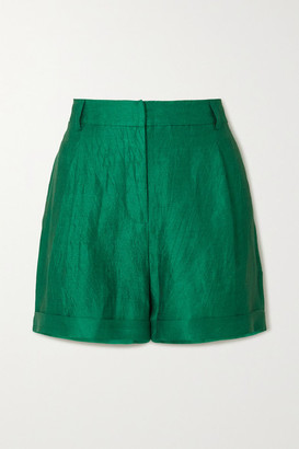 ZEUS + DIONE Cyrus Crinkled-linen Shorts - Green