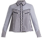 House of Holland Contrast-striped point-collar cotton shirt