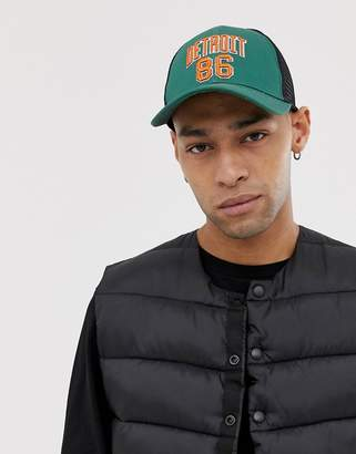 Asos Design DESIGN trucker in green with high build embroidery detail