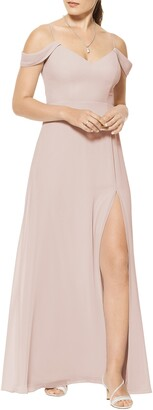 #Levkoff Cold Shoulder A-Line Chiffon Gown