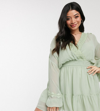 ASOS DESIGN Curve lace insert shirred waist mini skater dress in sage green
