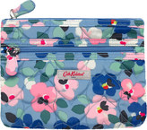 Cath Kidston Large Painted Pansies Quilted Heart Double Zip Purse